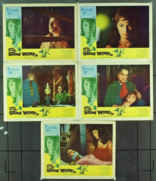 MILL OF THE STONE WOMAN (1963) 2479 Original Parade Releasing Organization Group Lobby Cards (11x14). Very Fine Condition.<br /><br />&nbsp;