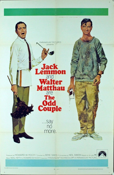 ODD COUPLE, THE (1968) 3124 Original Paramount Pictures One Sheet Poster (27x41).  Folded.  Fine condition.