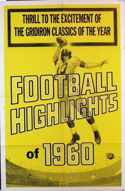 FOOTBALL HIGHLIGHTS OF 1960 (1960) 3374 Original Universal Pictures One Sheet Poster (27x41). Folded. Fine plus condition.
