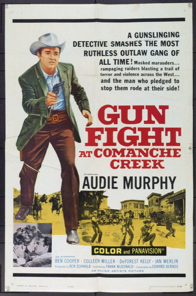 GUN FIGHT AT COMANCHE CREEK (1963) 3497 Original Allied Artists One Sheet Poster (27x41). Folded. Fine Plus.