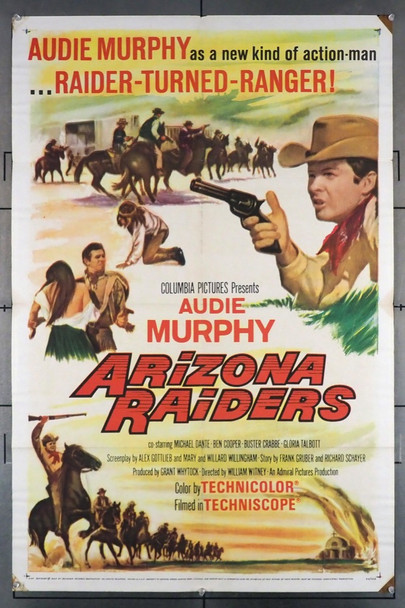 ARIZONA RAIDERS (1965) 4117 Original Columbia Pictures One Sheet Poster (27x41). Folded. Very Fine Plus Condition.