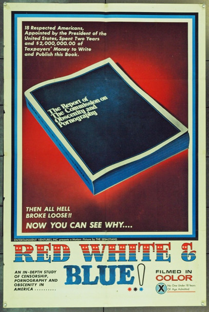 RED, WHITE AND BLUE (1971) 4131 Original Entertainment Ventures One Sheet Poster (27x41).  Folded.  Fine Plus.