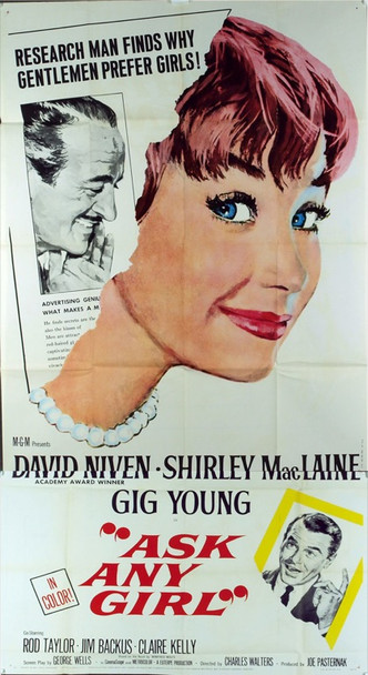 ASK ANY GIRL (1959) 4507 Original MGM Three Sheet Poster (41x81). Unused. Folded. Very fine condition.