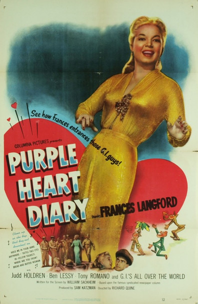 PURPLE HEART DIARY (1951) 4894 Original Columbia Pictures One Sheet Poster (27x41). Good Condition.