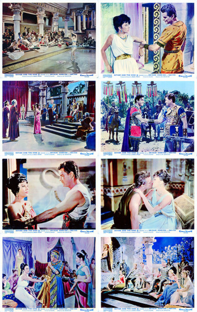 ESTHER AND THE KING (1960) 4950 Original Set of 8 British Front of House Cards (8x10). Fine Plus to Very Fine