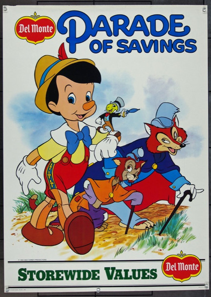 DISNEY/DEL MONTE: PINOCCHIO (1982) 1788 Original Disney/Del Monte 1983 Promotional Poster (25x36).  Rolled.  Very Fine.
