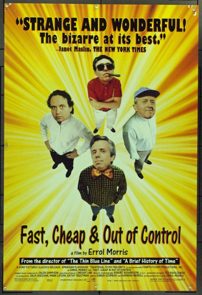 FAST,CHEAP & OUT OF CONTROL (1997) 15564 Original Sony Pictures One Sheet Poster (27x41).  Rolled.  Very Good.