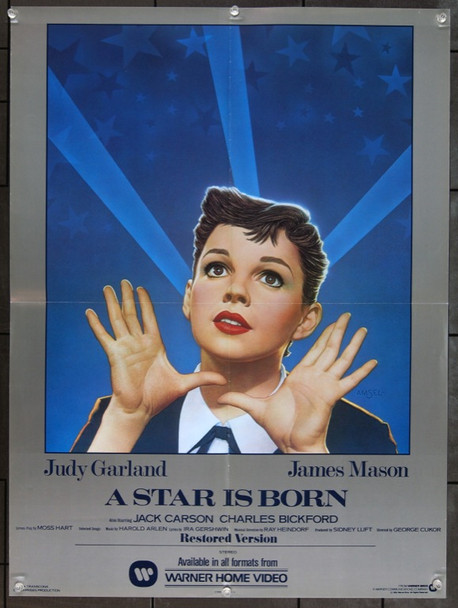 STAR IS BORN, A (1954) 1940 Original Warner Brothers First Video Release Poster (21x28). Richard Amsel Art.  Folded. Near Mint Condition.