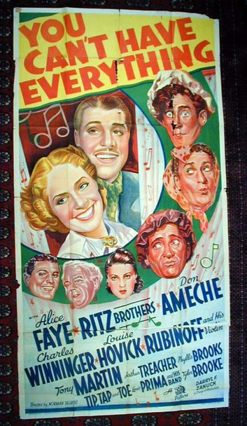 YOU CAN'T HAVE EVERYTHING (1937) 9770 Original 20th Century-Fox Three Sheet Poster (41x81). Folded.  Very Good.