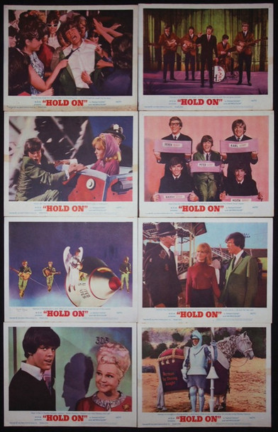 HOLD ON (1966) 15060 Original MGM Set of Lobby Cards.  Fine to Very Fine.  Eight cards.  11x14.