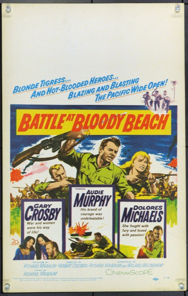 BATTLE AT BLOODY BEACH (1961) 21831 Original 20th Century-Fox Window Card (14x22).  Unfolded.  Very Fine.