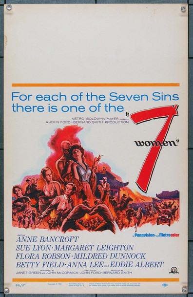 7 WOMEN (1966) 21825 Original MGM Window Card (14x22).  Unfolded.  Very Fine.
