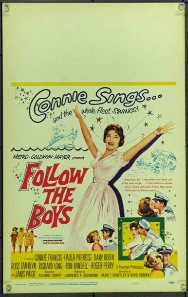 FOLLOW THE BOYS (1963) 21860 Original MGM Window Card. 14x22.  Very Fine.
