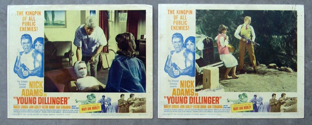 YOUNG DILLINGER (1965) 8292 Two Original Allied Artists Lobby Scene Cards. 11x14  Good condition.