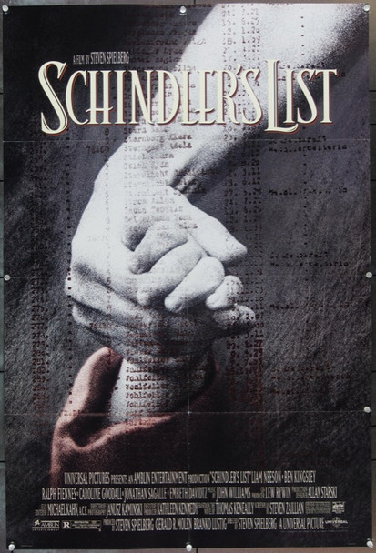 SCHINDLER'S LIST (1993) 22552 Original Universal One Sheet Poster.  Folded.  Very Fine.  Double Sided.