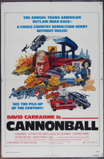 CANNONBALL (1976) 11910 Original New World Pictures One Sheet Poster.   27x41.  Very Fine.