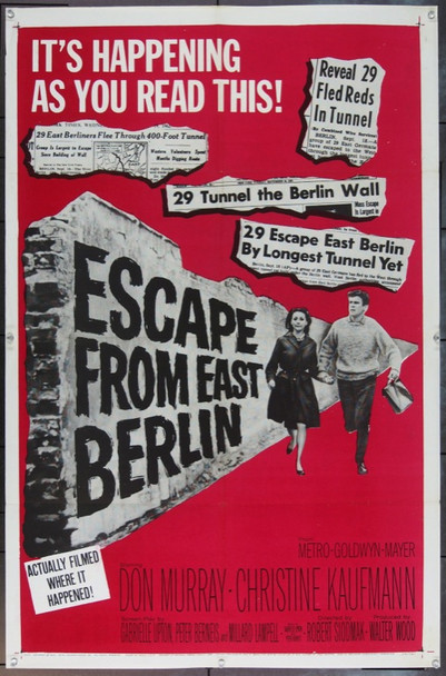 ESCAPE FROM EAST BERLIN (1962) 11912 Original MGM One Sheet Poster.  27x41.  Folded.