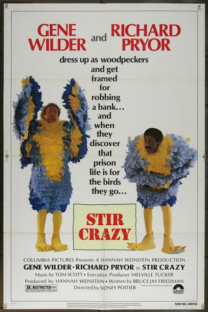 STIR CRAZY (1980) 11913 Original Columbia Pictures One Sheet Poster (27x41).  Folded.  Very Good Condition.