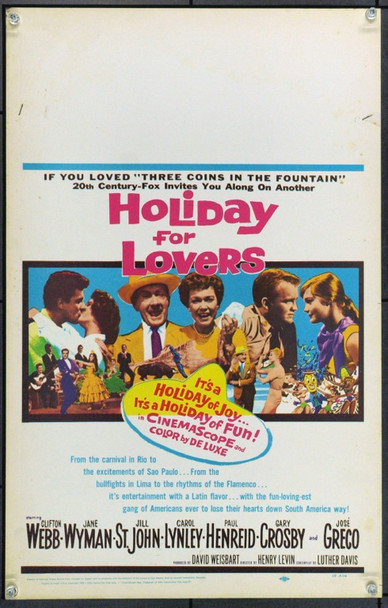 HOLIDAY FOR LOVERS (1959) 21869 Original 20th Century-Fox Window Card (14x22).  Unfolded.  Very Fine.