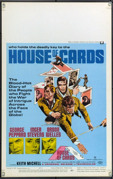 HOUSE OF CARDS (1969) 21872 Original Universal Pictures Window Card (14x22).  Unfolded.  Very Fine.
