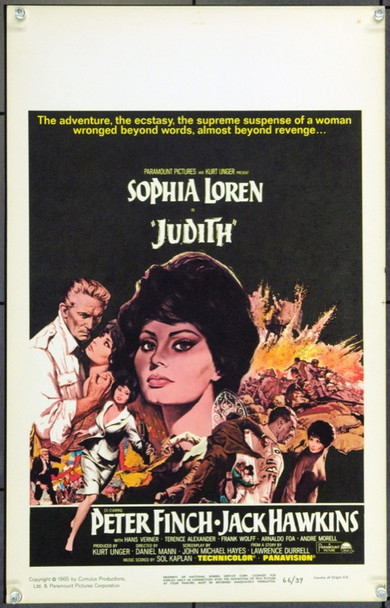 JUDITH (1966) 21878 Original Paramount Pictures Window Card (14x22).  Unfolded.  Very Fine.