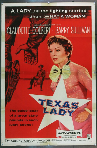 TEXAS LADY (1955) 7168 Original RKO One Sheet Poster (27x41).  Folded.  Very Fine Condition.