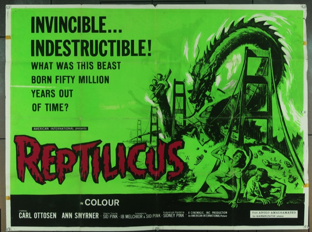 REPTILICUS (1962) 7410 Original Anglo Amalgamated British Quad Poster (30x40).  Folded.  Fine Condition.