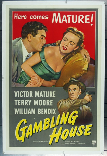GAMBLING HOUSE (1950) 5259 RKO One Sheet Poster (27x41) Linen backed.  Very Fine