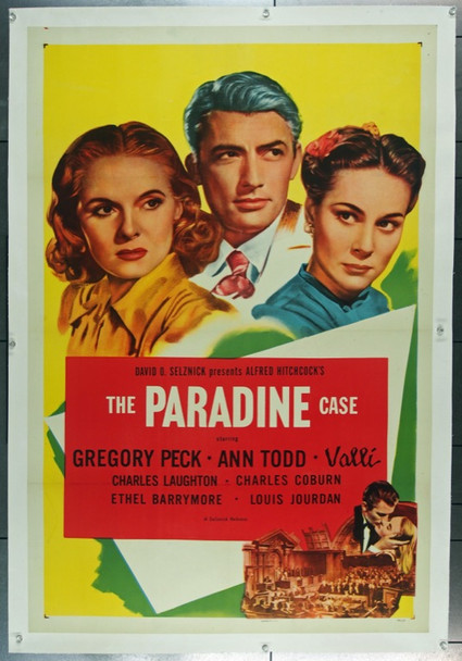 PARADINE CASE, THE (1947) 13779 Original Selznick Releasing Organization One Sheet Poster (27x41).  Linen-Backed.  Very Fine Condition.