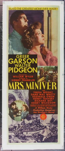MRS. MINIVER (1942) 18840 Original MGM Insert Poster (14x36).  Linen-Backed.  Fine Plus.