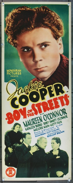 BOY OF THE STREETS (1937) 4487 Original Monogram Pictures Insert Poster (14x36).  Unfolded.  Very Fine.