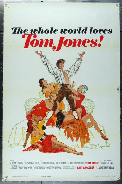 TOM JONES (1963) 14619 Original United Artists Style A One Sheet Poster (27x41).  Linen-Backed.  Fine Condition.