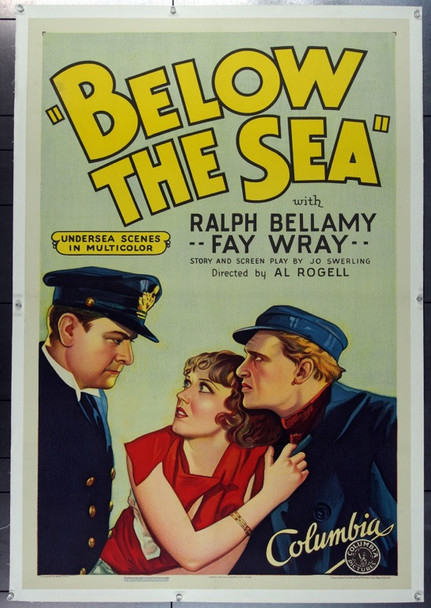 BELOW THE SEA (1933) 11177 Original Columbia Pictures One Sheet Poster (27x41).  Linen-Backed.  Very Fine Condition.