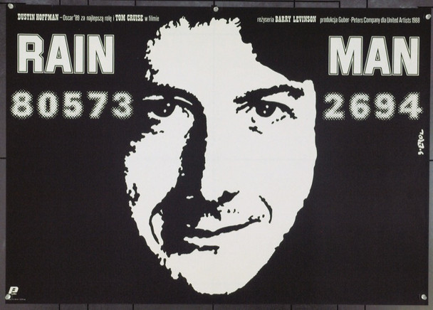 RAIN MAN (1988) 22068 Original Polish Monochrome Poster (26x28 horizontal format). Very Fine.