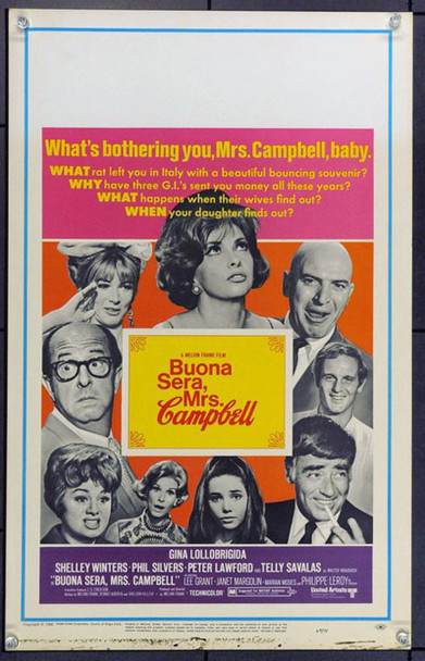 BUONA SERA, MRS. CAMPBELL (1969) 21839 Original United Artists Window Card (14x22). Very Fine.
