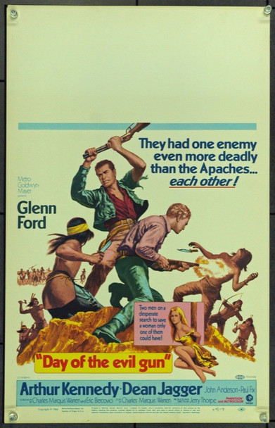 DAY OF THE EVIL GUN (1968) 21844 Original MGM Window Card (14x22). Very Fine.