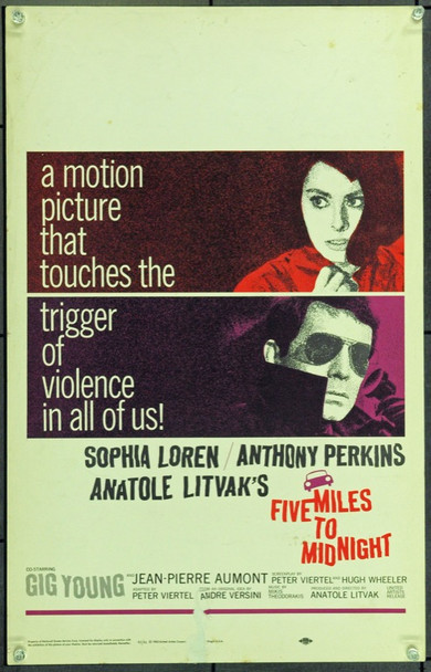 FIVE MILES TO MIDNIGHT (1963) 21858 Original United Artists Window Card (14x22). Very Fine.