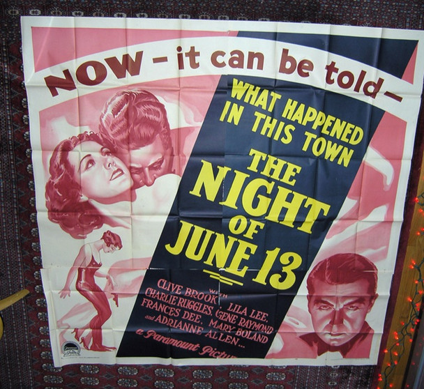 NIGHT OF JUNE 13 (1932) 9224 Paramount Pictures Six Sheet (81x81)  Very Fine Plus Condition.