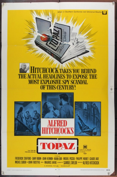 TOPAZ (1969) 7391 Original Universal One Sheet Poster (27x41) Folded.  Fine Plus