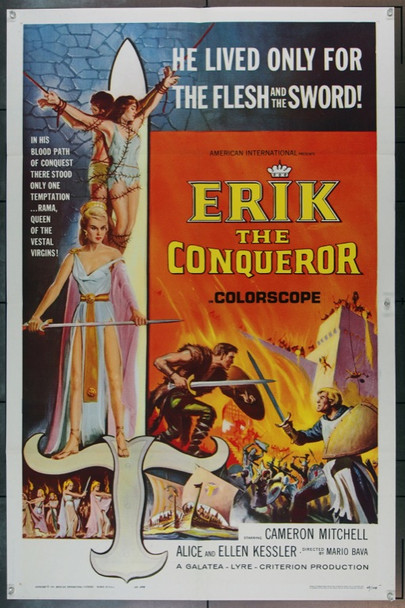 ERIK THE CONQUEROR (1963) 22707 Original American International Pictures One Sheet Poster (27x41).  Folded.  Very Fine.