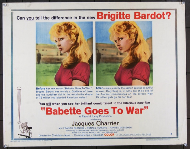 BABETTE S'EN VA-T-EN GUERRE (1959) 22731 Original Columbia Pictures Half Sheet (22x28) Unforded.  Very Fine