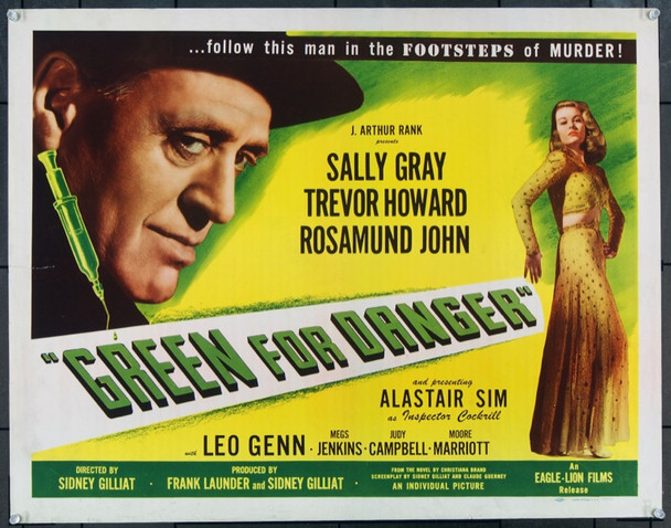 GREEN FOR DANGER (1946) 22742 Original Eagle-Lion Half Sheet Poster (22x28) Unfolded.  Very Fine Condition.