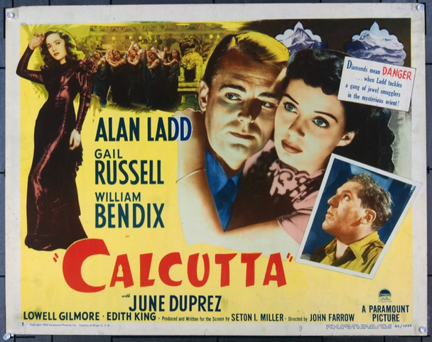 CALCUTTA (1946) 22735 Original Paramount Pictures Style B Half Sheet Poster (22x28).  Unfolded.  Fine Plus.