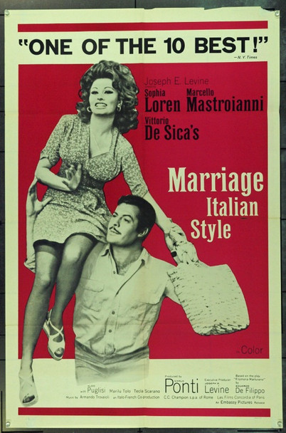 MATRIMONIO ALL'ITALIANA (1964) 4128 Original Embassy Pictures One Sheet Poster (27x41).  Alternate Style.  Folded.  Fine Condition.