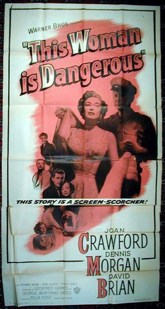 THIS WOMAN IS DANGEROUS (1952) 4695 Original Warner Brothers Three Sheet Poster (41x81).  Folded and Unassembled.  Fine Plus.