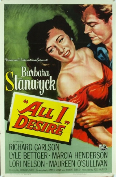 ALL I DESIRE (1953) 5688 Original Universal Pictures One Sheet Poster (27x41). Art by Reynold Brown. Folded. Very Fine Plus Condition.