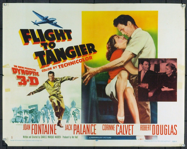 FLIGHT TO TANGIER (1953) 5385 Original Paramount Pictures 3-D Style B Half Sheet Poster (22x28). Folded. Very Good.