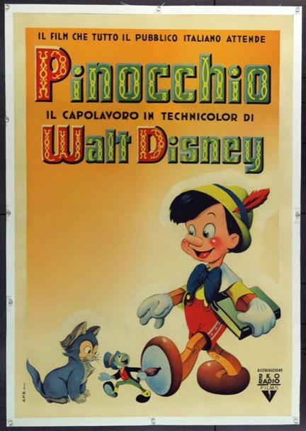 PINOCCHIO (1940) 6138 Original RKO Italian Poster (39x55).  Stone Lithograph. Linen-Backed. RARE.  Very Fine.