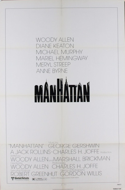 MANHATTAN (1979) 6154 Original United Artists One Sheet Poster (27x41). Style A.   First printing on enameled paper.  Folded.  Very Fine.