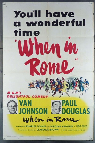 WHEN IN ROME (1952) 6155 Original MGM One Sheet Poster (27x41).  Folded.  Fine Plus Condition.
